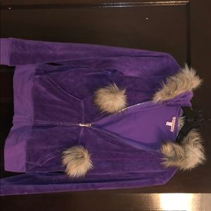 Purple Juicy Couture velour track sweatshirt, M